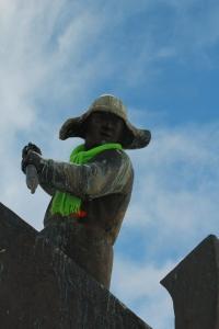 Statue wearing scarf