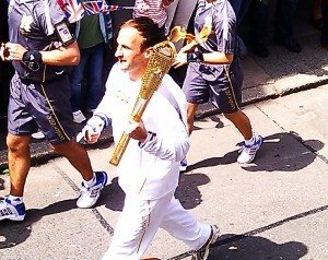 The Cornish Pirates' Gavin Cattle carries the Olympic torch